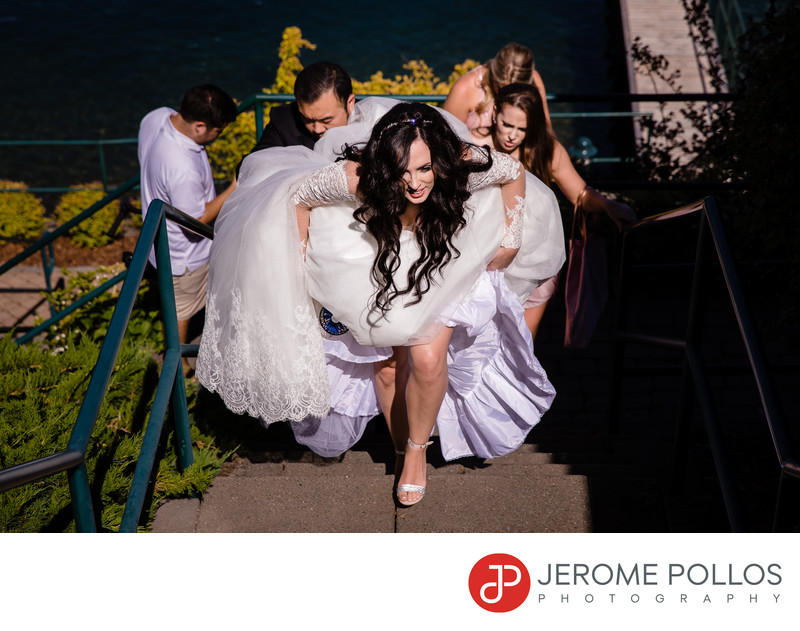 Hayden Lake Country Club Wedding Bride Stair Climb
