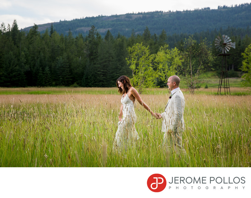Bride And Groom Sagle Idaho Wedding Field Walk