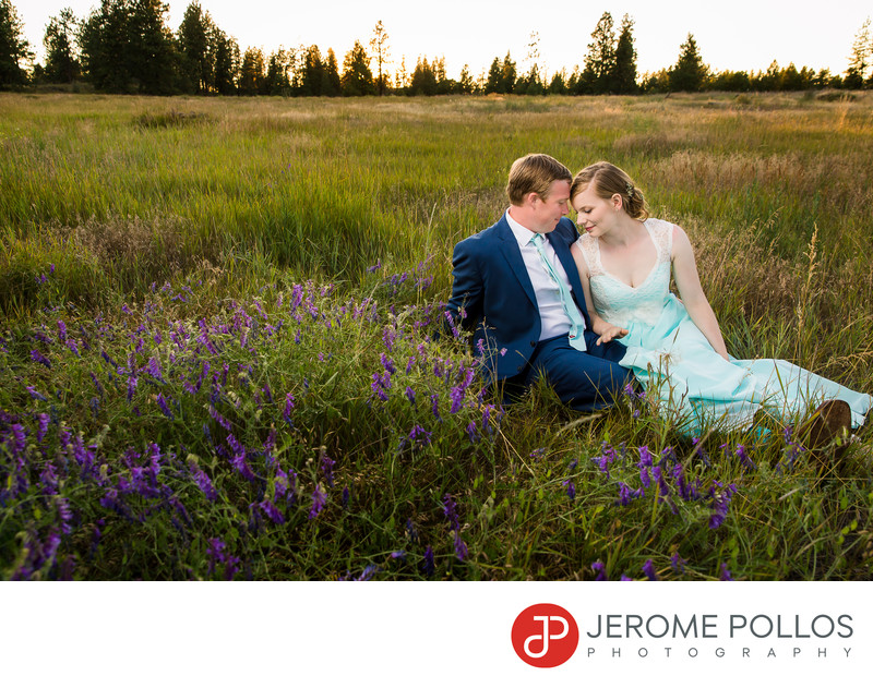 Bride And Groom Wedding Field Moment Spokane Washington