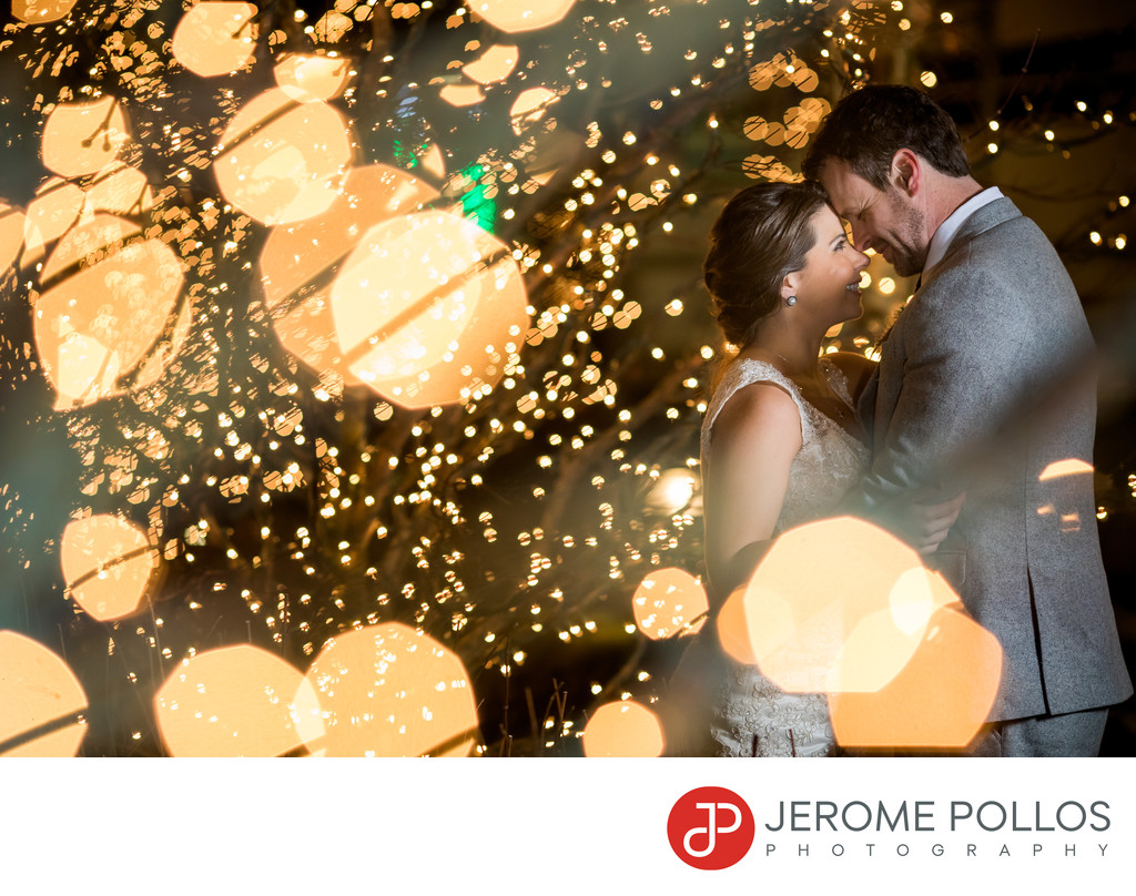 Bride Groom Coeur d'Alene, Idaho Wedding Holiday Lights
