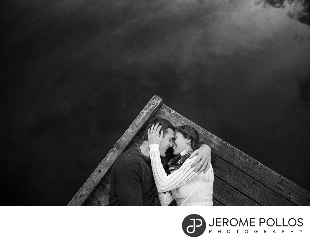 Engagement Portrait On The Lake Dock