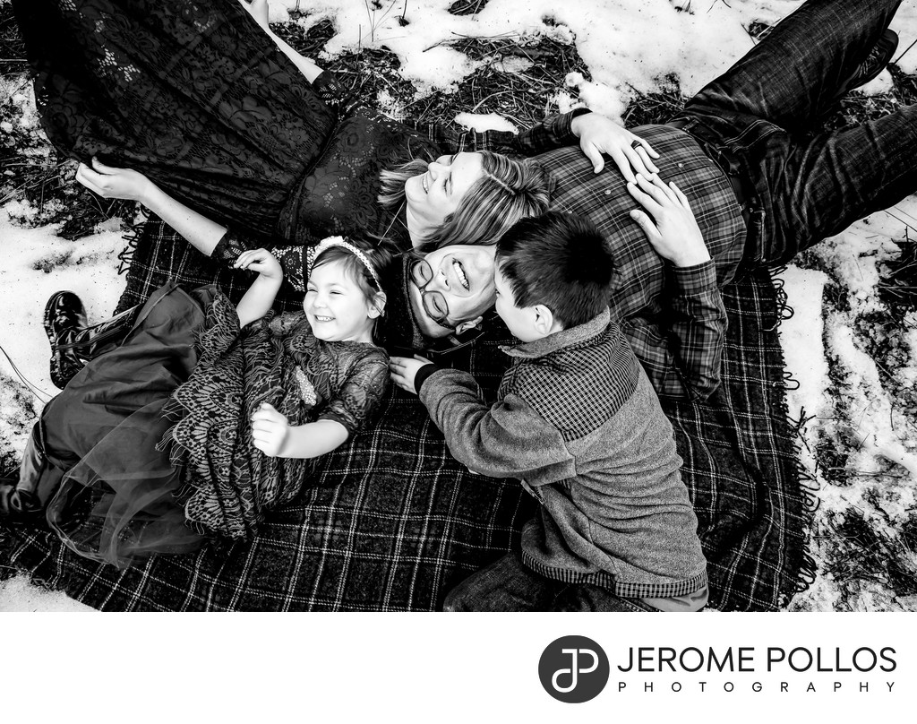 Snowy Playtime Lifestyle Family Portrait