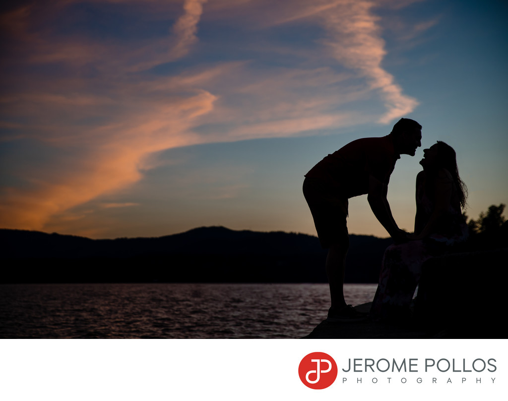 Sunset Lake Coeur d'Alene Kiss Engagement Portrait