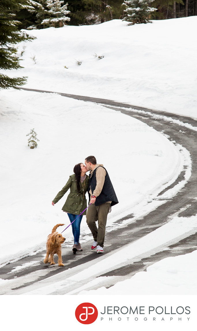 Dog Walking Engagement Portrait