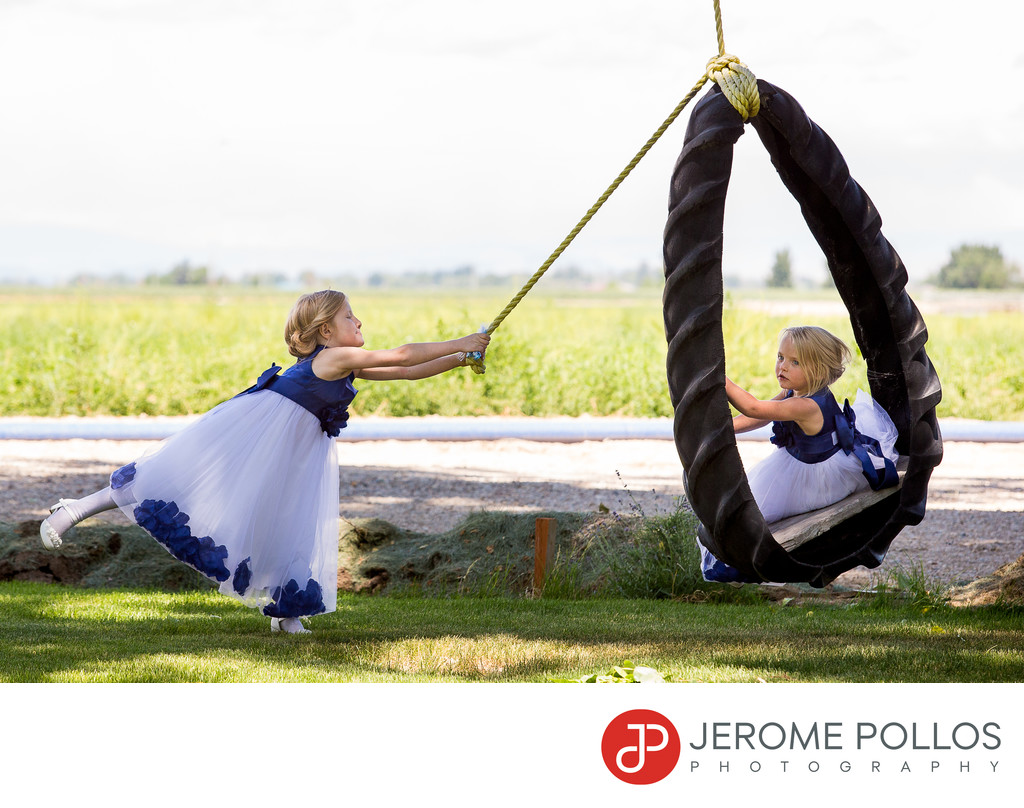 Flower Girls Wedding Reception Tire Swing Ontario