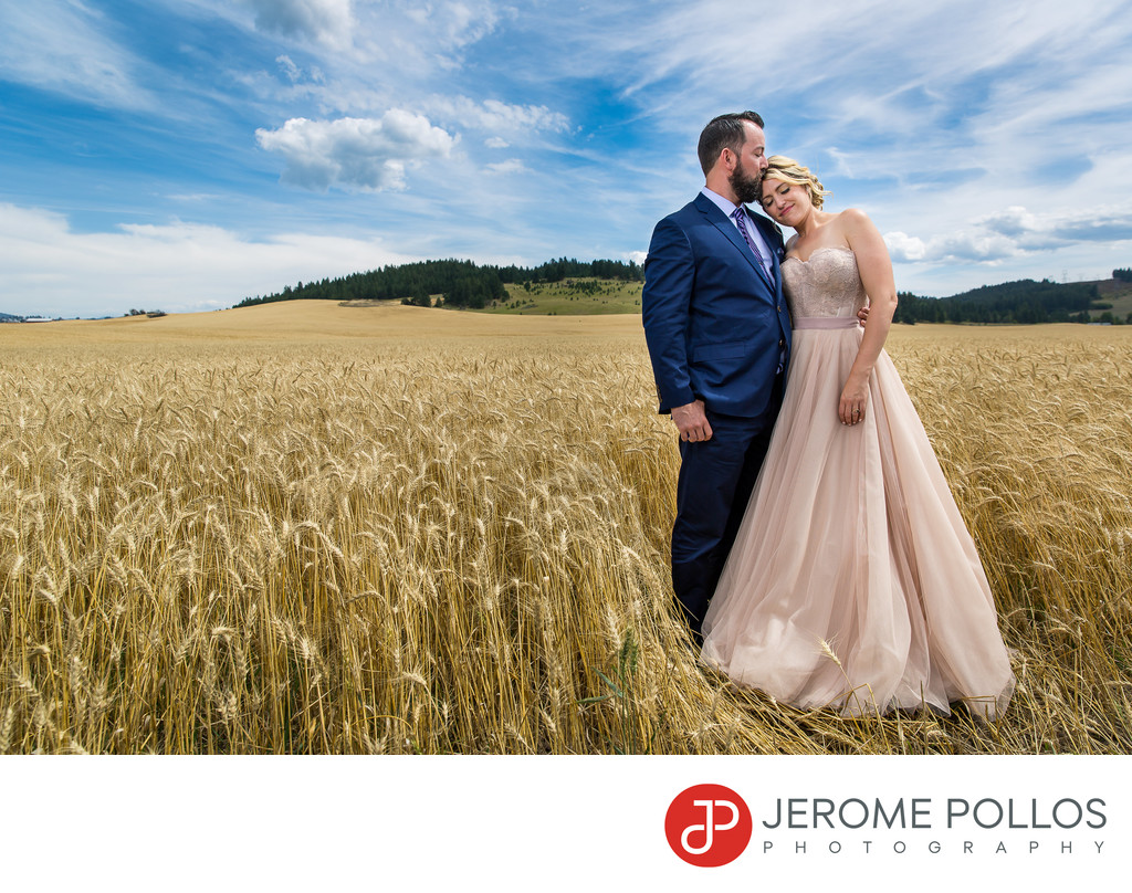 Bride And Groom Wheat Field Kiss Spokane Washington