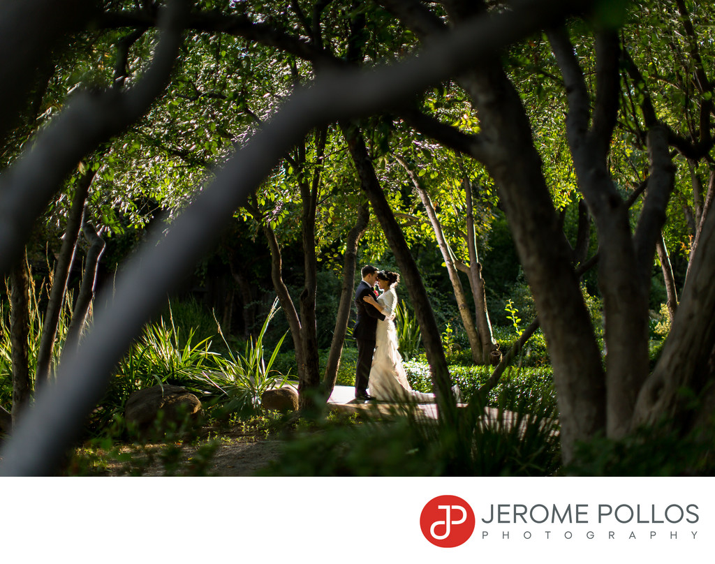Bride And Groom In Shinzen Japanese Garden Fresno