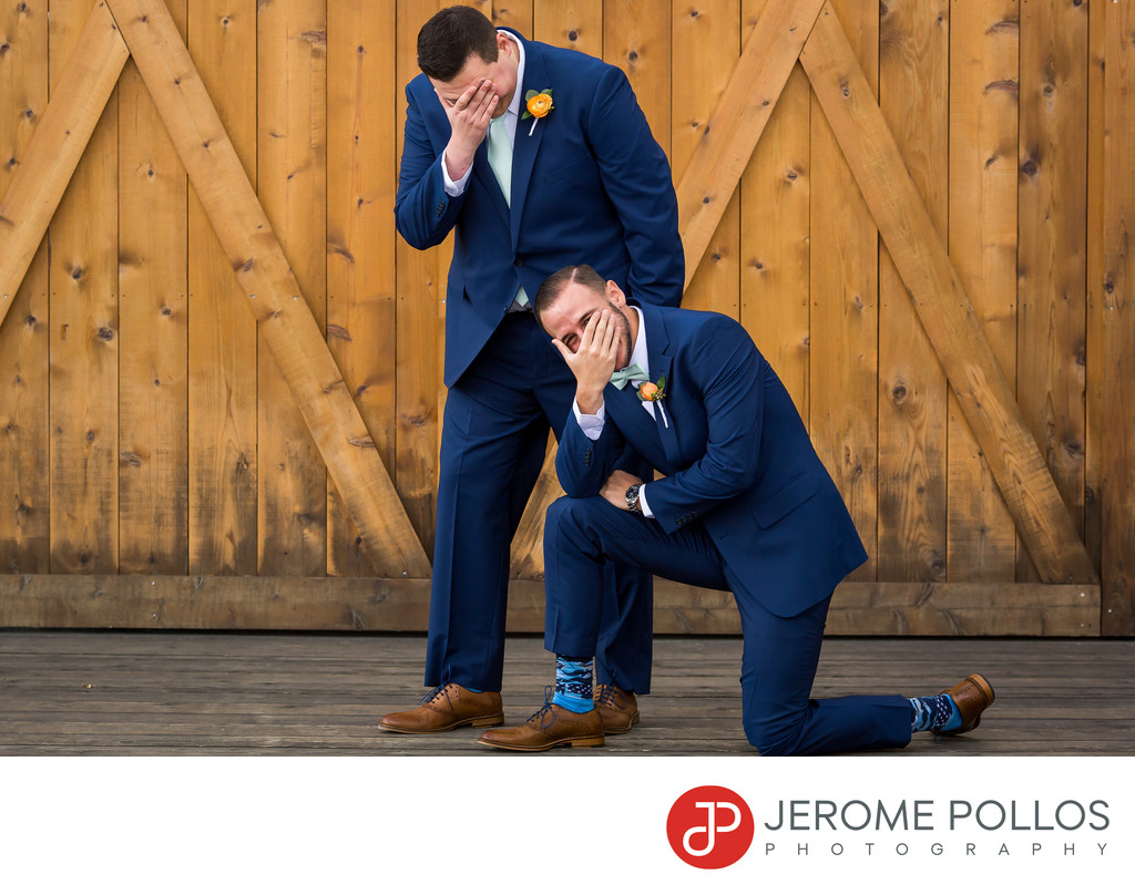 Groom And Groomsman Laughing Trezzi Farm Spokane