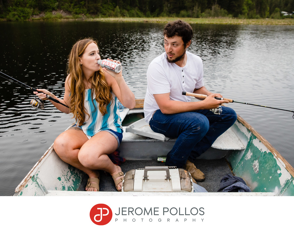 Fishing and Beer Engagement Portrait in Sagle, Idaho