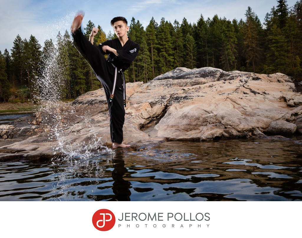 Lake City karate senior portrait session Coeur d'Alene