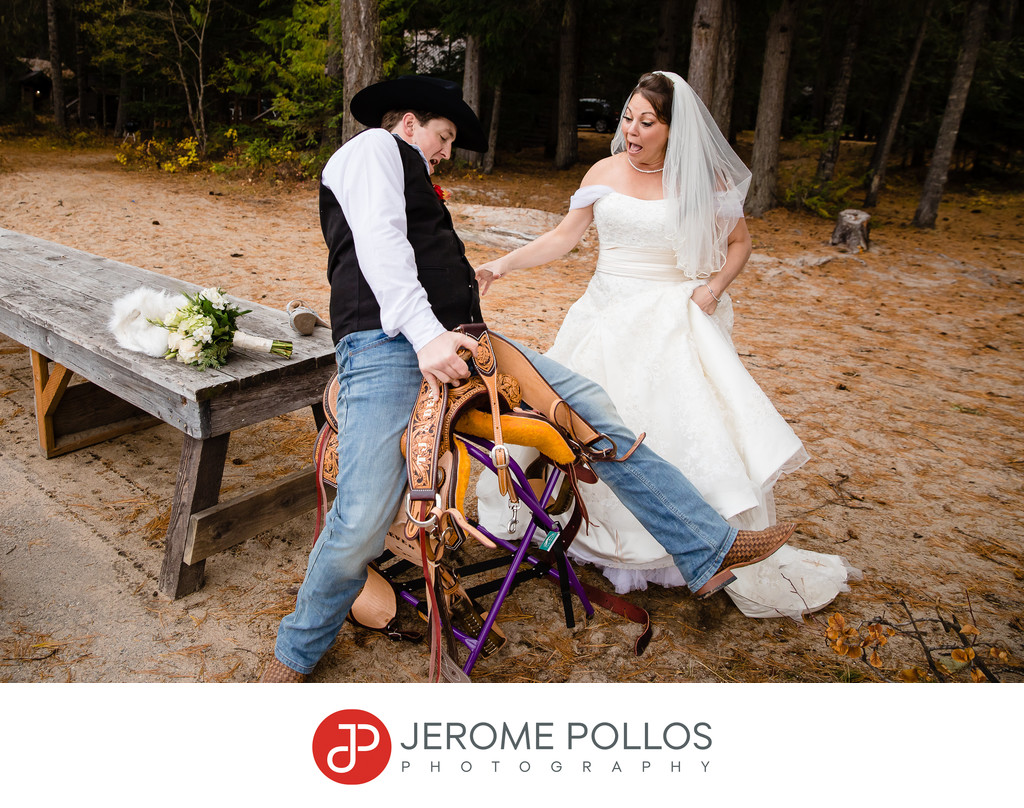 Groom falls of a saddle as bride laughs at Hills Resort