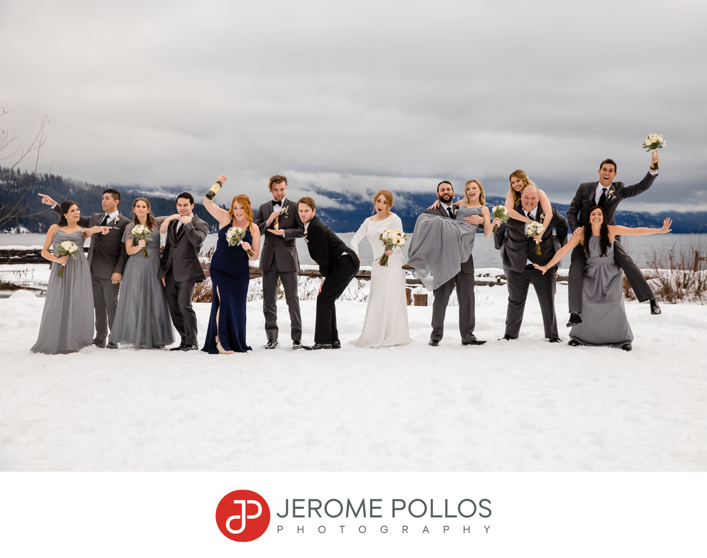 Fun Elkins Resort winter wedding party group portrait