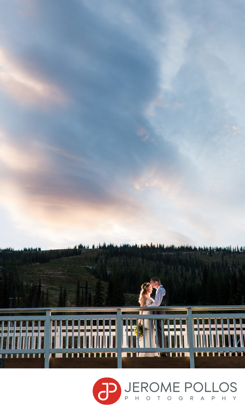 Schweitzer Wedding Bride Groom Bridge Kiss At Sunset