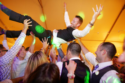 Crowd Surfing Groom At Arbor Crest Wedding Spokane