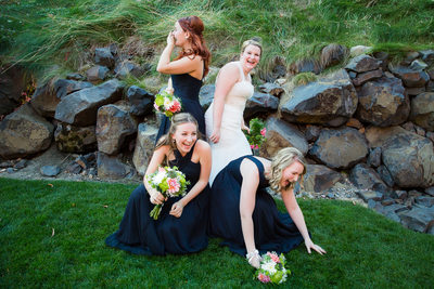Laughing Bride Bridesmaids At Chateau Rive Wedding