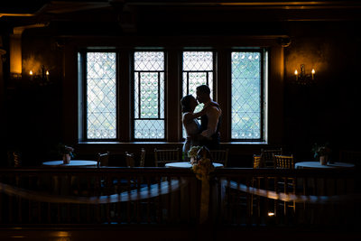 Bride Groom Kiss Glover Mansion Spokane Washington