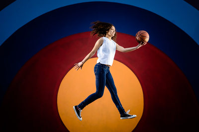 Colorful Basketball Senior Portrait