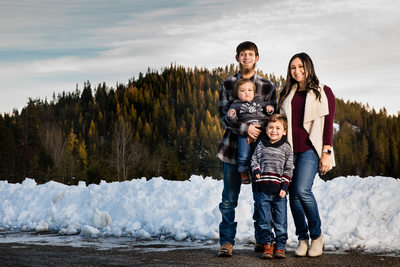 Snowy Winter Lifestyle Family Portrait