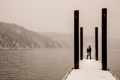 On The Snowy Dock Engagement Portrait