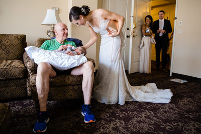 Bride Visits Father Before Wedding Ceremony Davenport