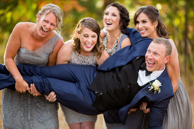 Bridesmaids Try To Hold Groom Hood River Oregon Wedding