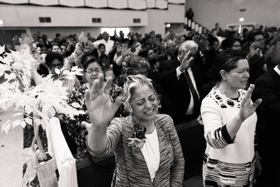 Guests Praying At Fresno California Wedding Ceremony