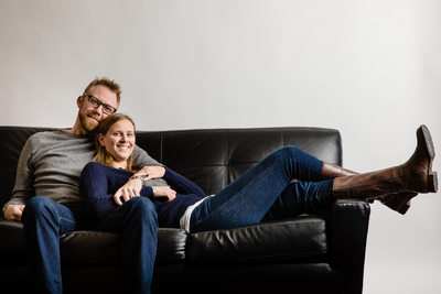 Couch Couple Studio Lifestyle Family Portrait