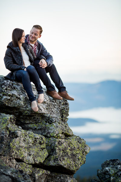 On Top Of A Rock Engagement Portrait