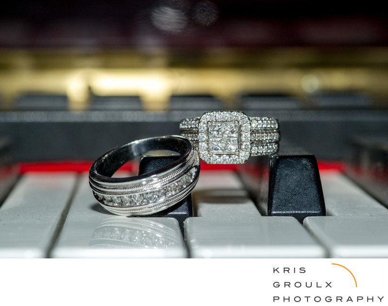 Piano keys and wedding rings