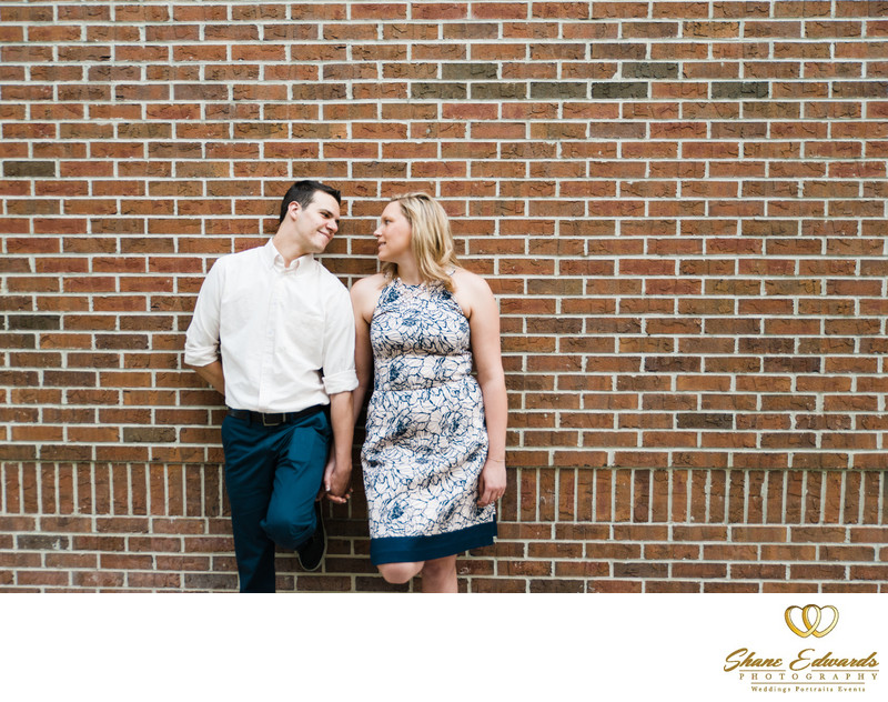 Brick wall Engagement Photo
