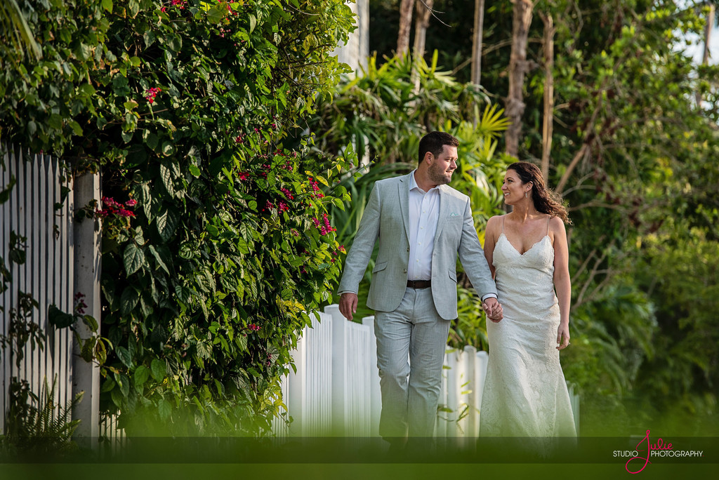 Bride and Groom Wedding Walking Key West, Florida