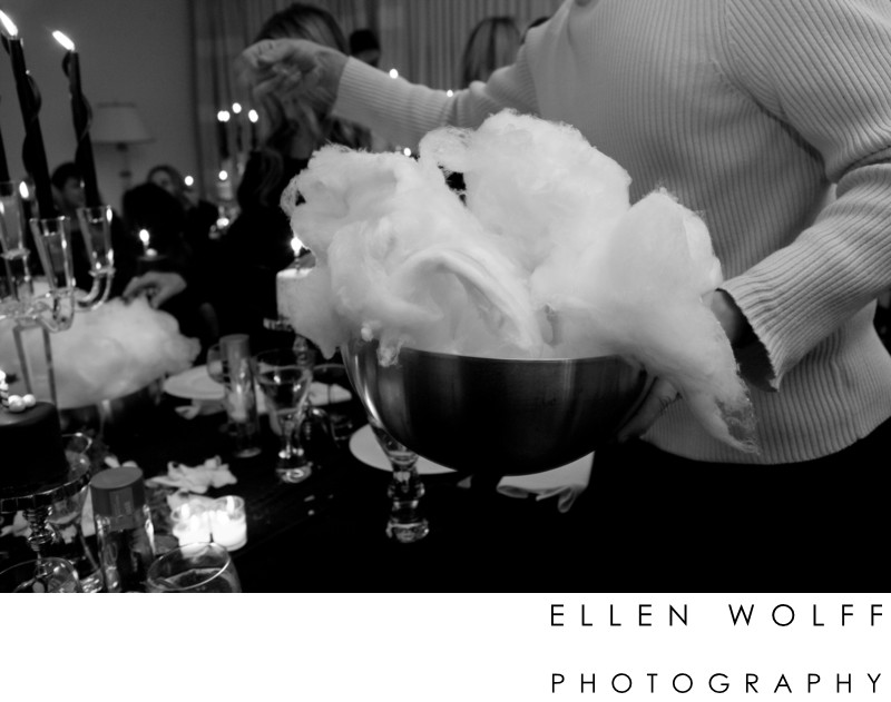 cotton candy for dessert at a 50th birthday