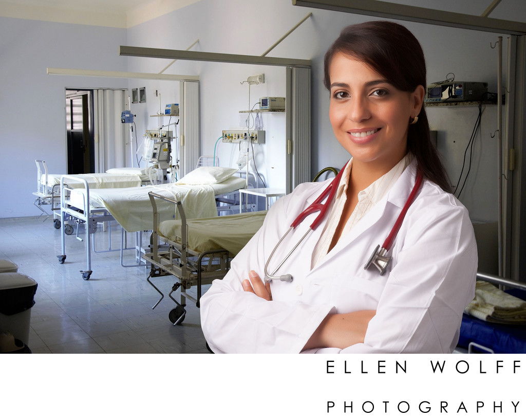 Medical Professional Headshots with stethoscope and white coat