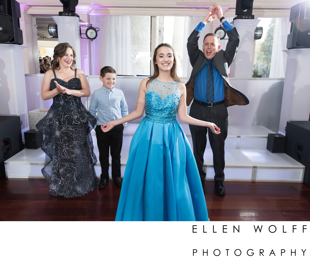 Bat Mitzvah grand entrance family photo