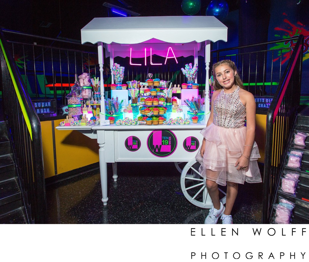 day glo bat mitzvah candy cart
