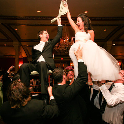 doing the hora at a Jewish wedding