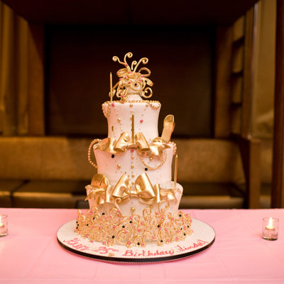 whimsical gold shoe cake by colettes cakes
