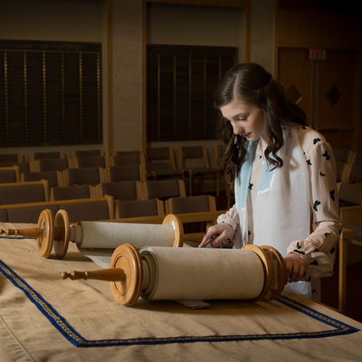 Bat Mitzvah Portrait reading the torah