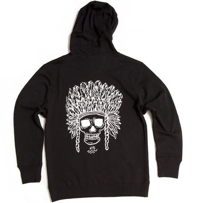 back of black cotton hooded artsy sweatshirt