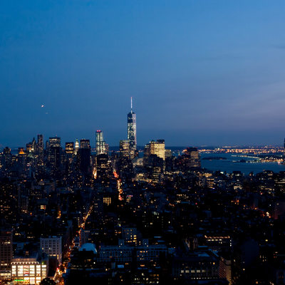 lower manhattan skyline after dusk