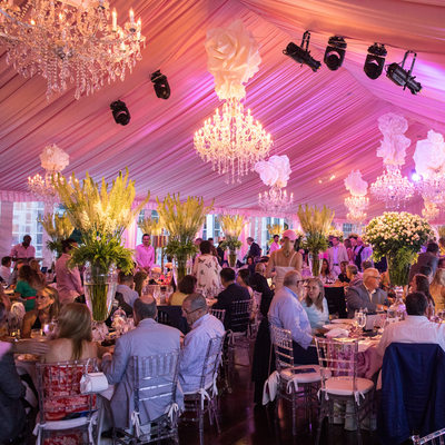 Pink tent and decor at a Hamptons Summer Party