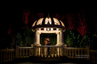 Night image of the Bride and Groom at the Westmount