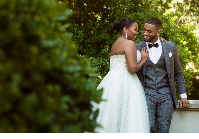 Bride and Groom laughing together at Callanwolde fine arts