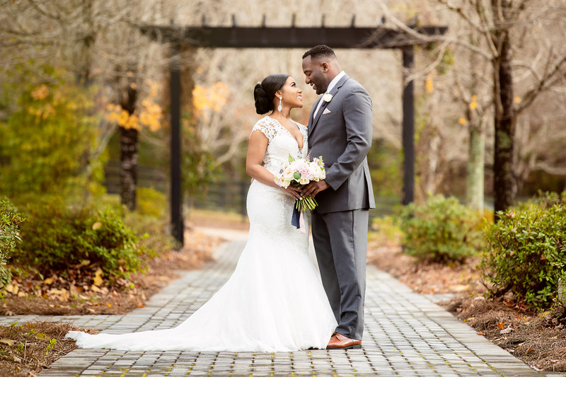 Smiling couple in fall Fox Hall Wedding Photo