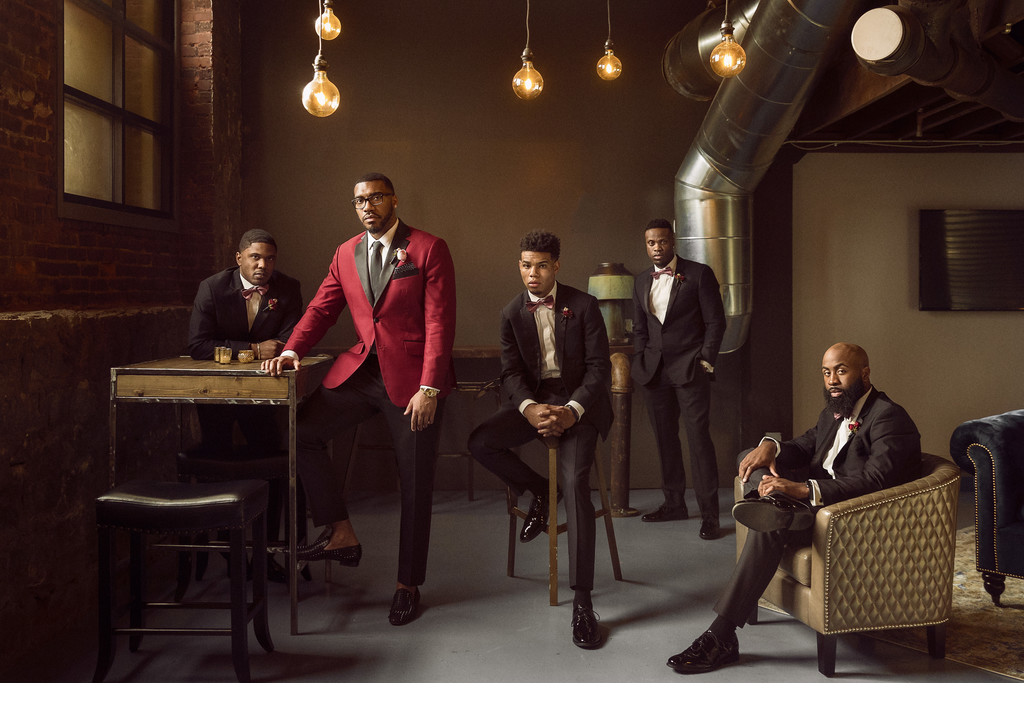 Stylish groom and groomsmen portrait
