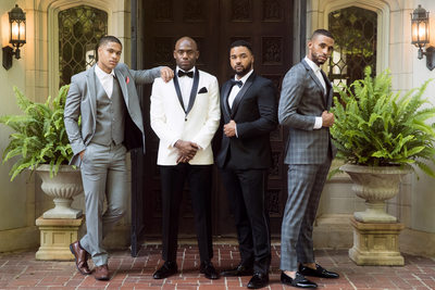 Grooms wearing Tuxedoes from Savvi formal Menswear