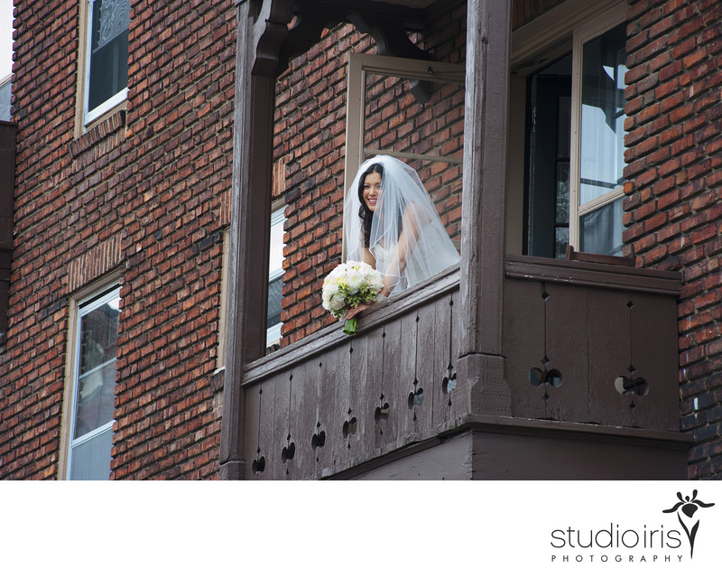 montreal bride on a balcony morning of wedding