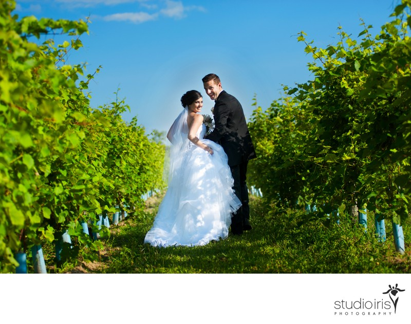 bride and groom laughing as they run through the vineyard at Le Château Taillefer Lafon
