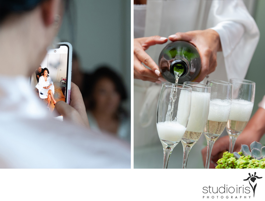 montage of getting ready wedding photos with bridesmaid taking photos with cell phone and champagne being poured