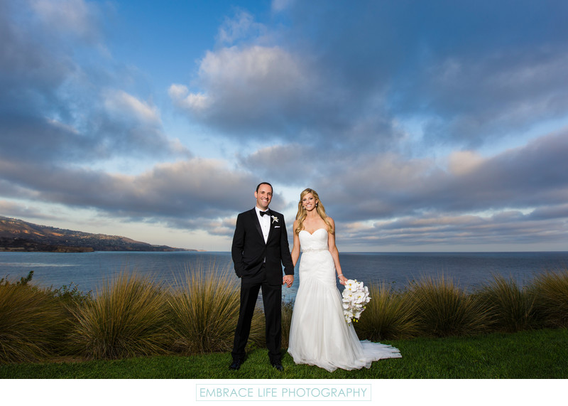 Wedding Portrait of Bride & Groom on California Coast